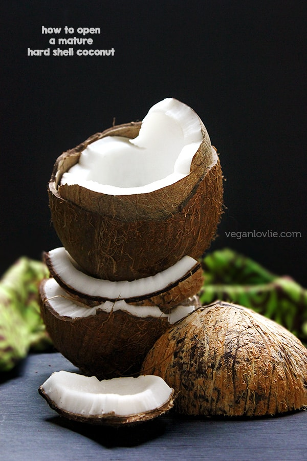 How to easily open a mature hard shell coconut