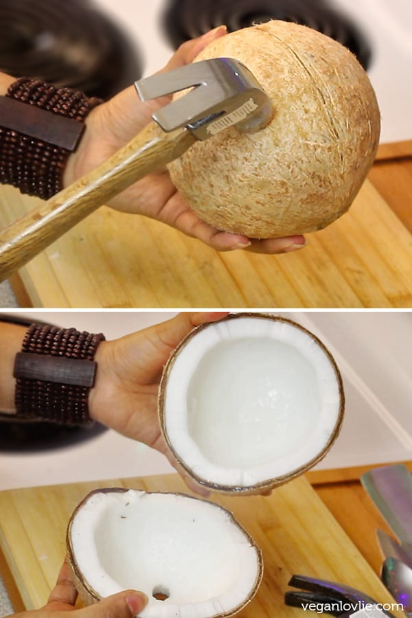 how to open a mature hard shell coconut
