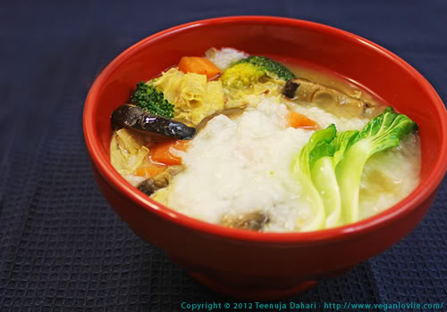 Vegetable congee with bean curd skin