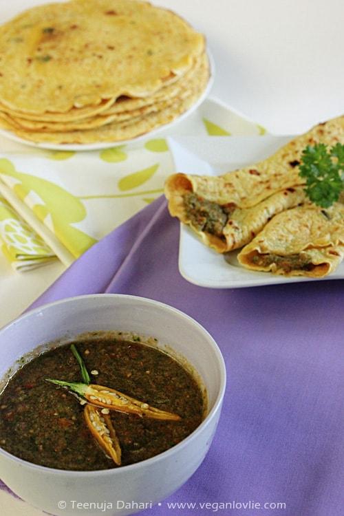 vegan savoury crepes, coriander chutney