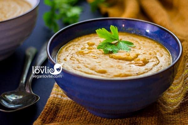 Creamy Corn Pumpkin Red Lentil Soup - vegan dairy-free soup recipe
