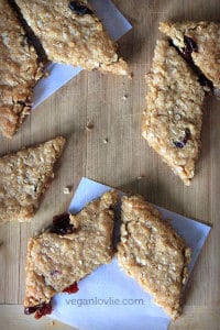 crunchy vegan oatmeal cookies with cranberries