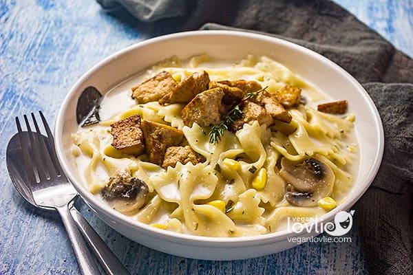Creamy One-pot Vegan Pasta Chowder with red lentil broth