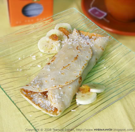 Banana and Coconut vegan Crepe, pancake