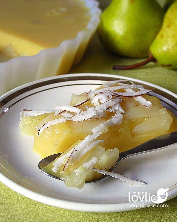 Pear Coconut Vegan Flan -  Crème Caramel Custard Dessert