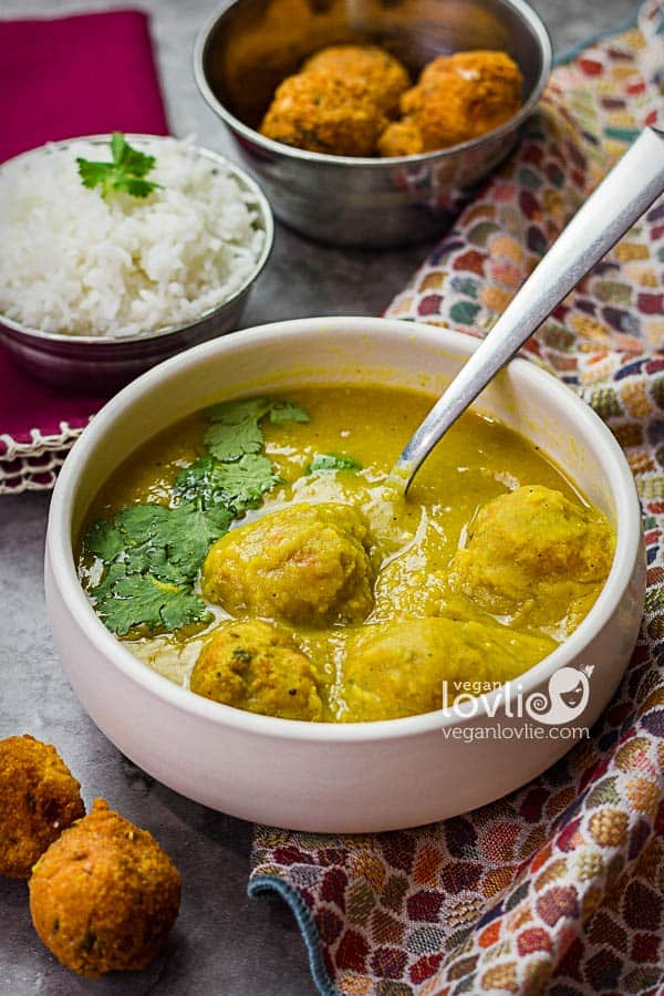 channa dal soup with lentil dumplings or dal fritters