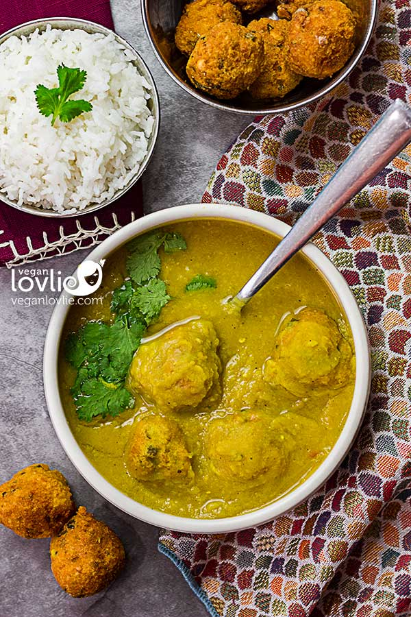 yellow split pea dal soup with lentil dumplings or dal fritters