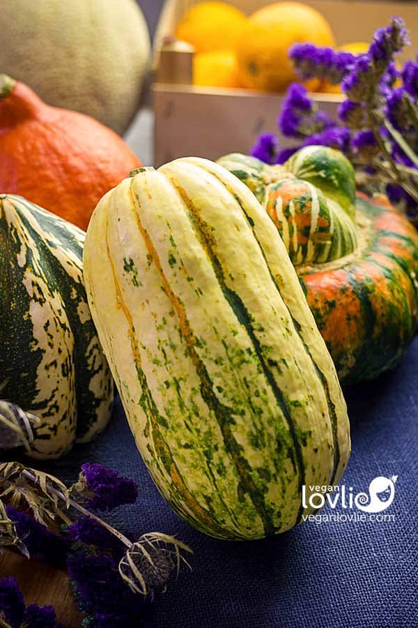 Delicata squash and pumpkins
