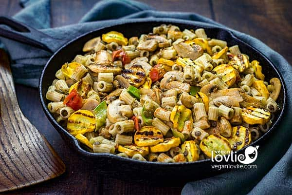 Ditali Pasta with Courgette (Zucchini) and Hot Chilli Oil in a cast iron skillet