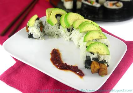 vegan sushi, dragon roll