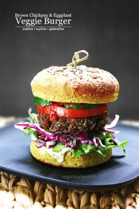 Veggie Burger with Brown Chickpeas and Eggplant/Aubergine.