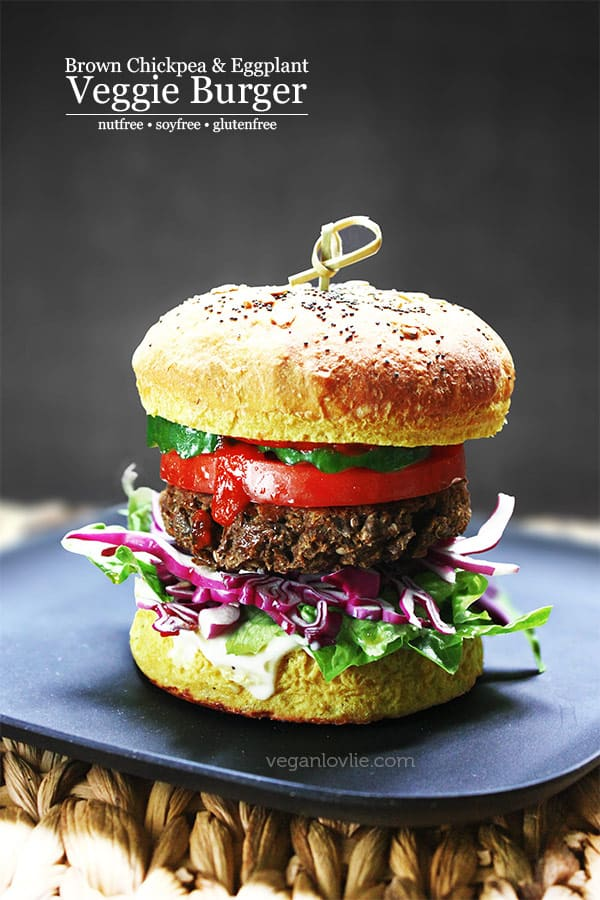 My Best Veggie Burger (does not fall apart) with Brown Chickpeas & Eggplant | Nut-free + Soy-free + Gluten-free
