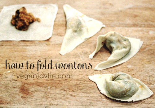 vegan wonton recipe - how to fold wontons