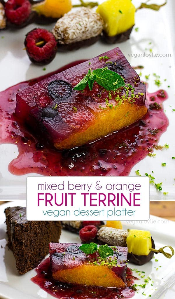 summer fruit terrine, vegan dessert platter