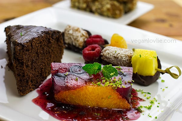 Vegan Dessert Platter with Fruit Terrine, Fruit and Date Rolls Skewers