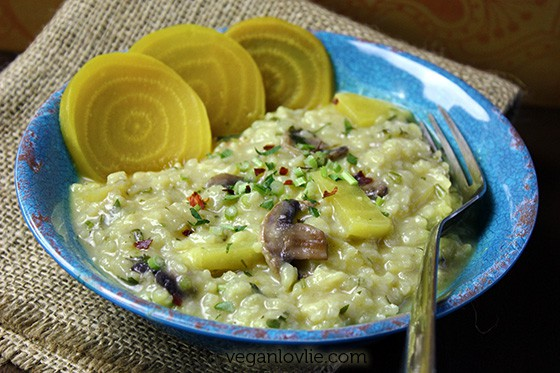 golden beetroot risotto, vegan, gluten-free, yellow beetroot risotto recipe