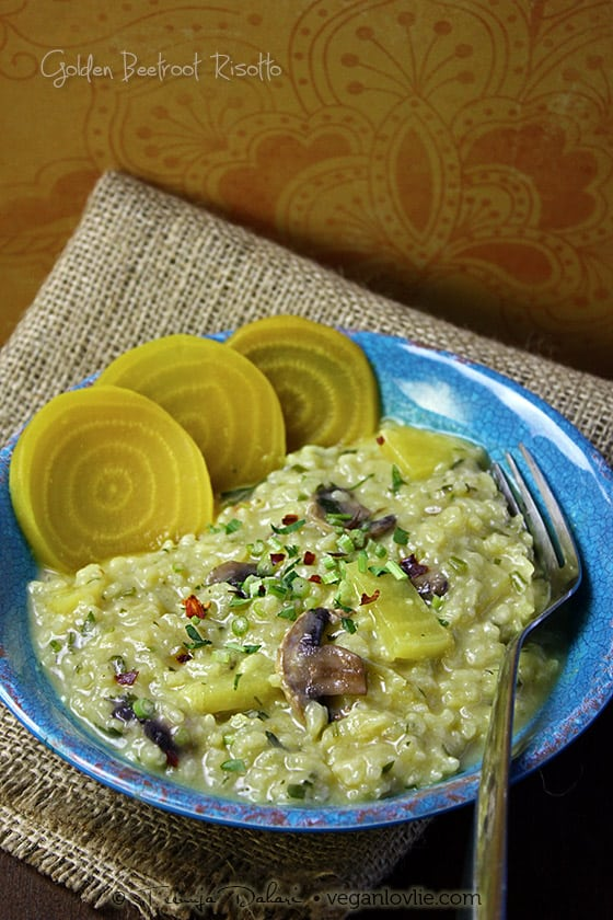 golden/yellow beetroot risotto, vegan, gluten-free