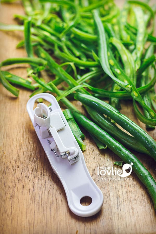 Sliced green beans with a bean slicer