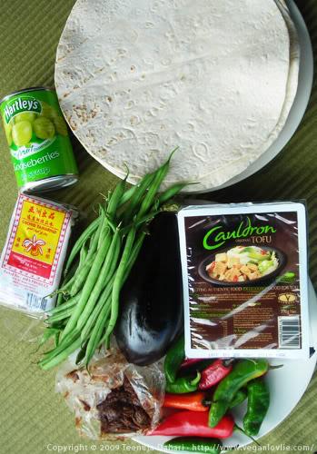 green beans, aubergine, tofu, tamarind paste, chilies, gooseberries, tortillas