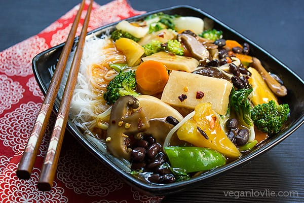 Vegetable Chop Suey with Jicama (Chinese Potato/Yam) & Black Beans