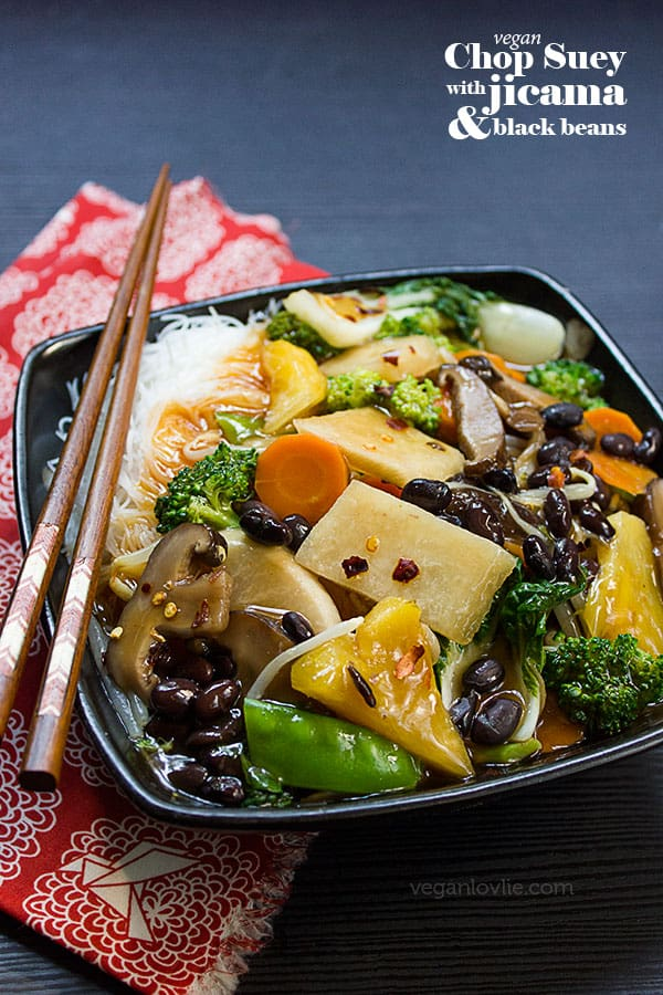 Vegan / Vegetarian Chop Suey Recipe with Jicama and Black Beans, Chinese / Mexican Potato or Yam (patate chinois)