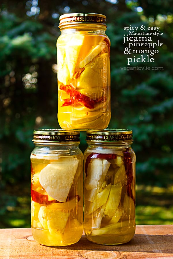 Easy Jicama (Chinese / Mexican Potato or Yam, patate chinois), Pineapple, Mango Pickle