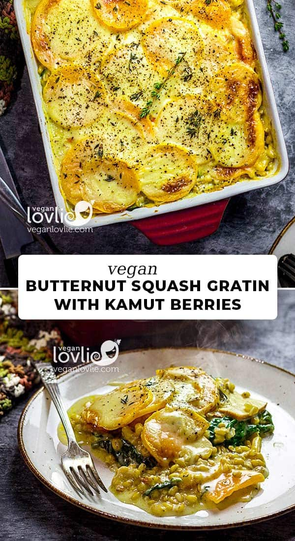Vegan butternut squash gratin with kamut berries, smoked tofu and spinach
