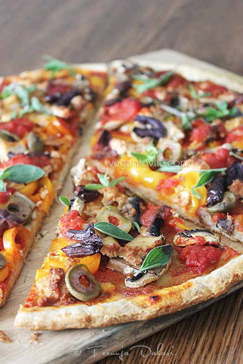 Homemade Pizza without Cheese - The Easiest Laziest No-recipe Pizza