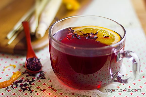 lemongrass hibiscus tea recipe with orange peel and maple syrup