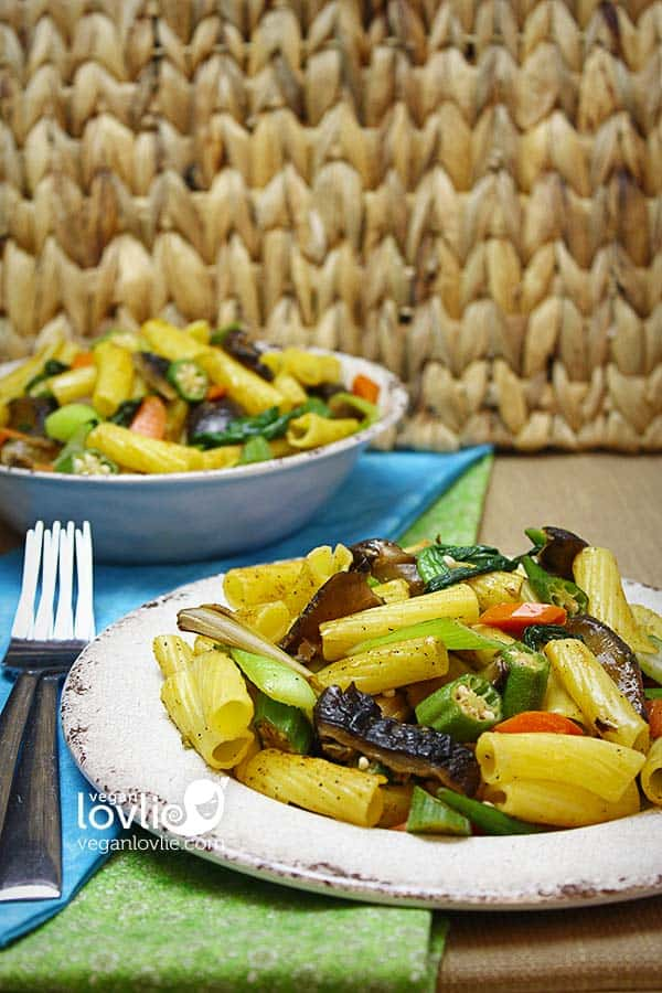 lemongrass vegetable pasta stir fry with okra, vegetarian, vegan recipe