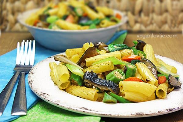lemongrass vegetable pasta stir fry with okra, vegetarian, vegan recipe