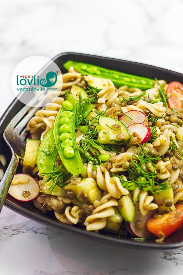 Lentil Pasta Salad with Balsamic Dill Vinaigrette
