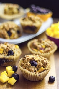 Gluten-free Oatmeal Muffins with Mango and Blueberry, sugar-free, vegan recipe