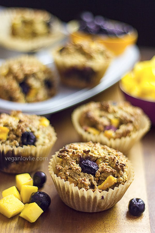 Easy Gluten-free Oatmeal Muffins with Mango and Blueberry | Sugar-free + Vegan Recipe