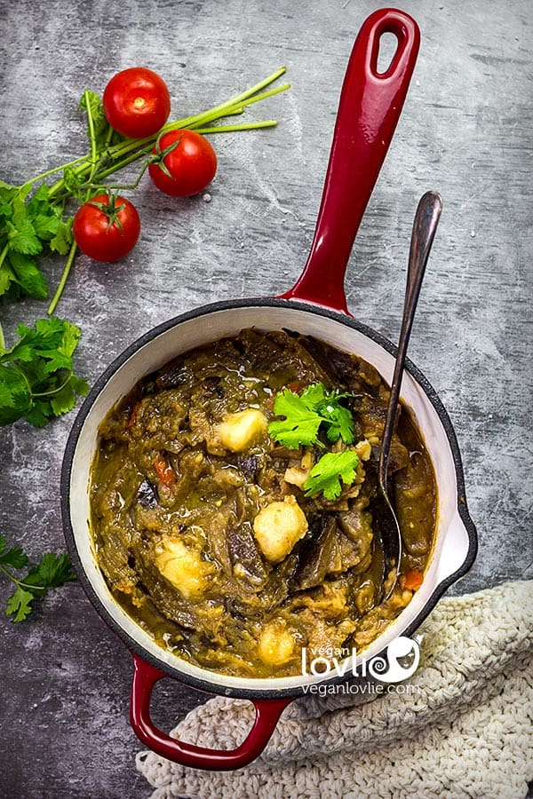 Mauritian-style Mashed Aubergine / Eggplant with Potato