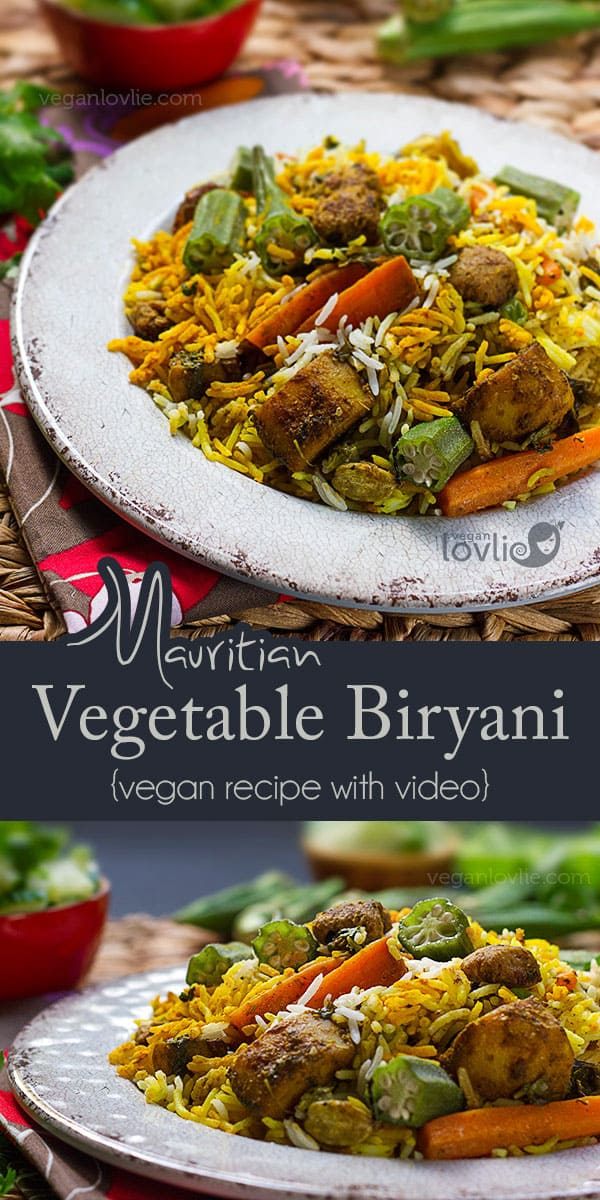 Mauritian Biryani with okra and soya chunks, biryani recipe, vegan