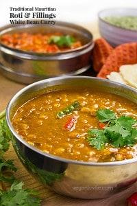 Mauritian Roti/Farata and Fillings, white bean curry