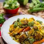 Mauritian Vegan Briyani with Okra and Soya Chunks (Textured Vegetable Protein), Vegetable Biryani recipe