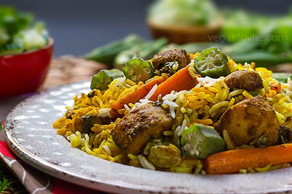 Mauritian Vegan Biryani with Okra and Soya Chunks (Textured Vegetable Protein)