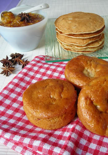 apple muffins, pancakes and chutney