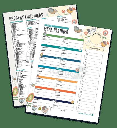 Planificateur de repas imprimable - Set chirpy - veganlovlie.com