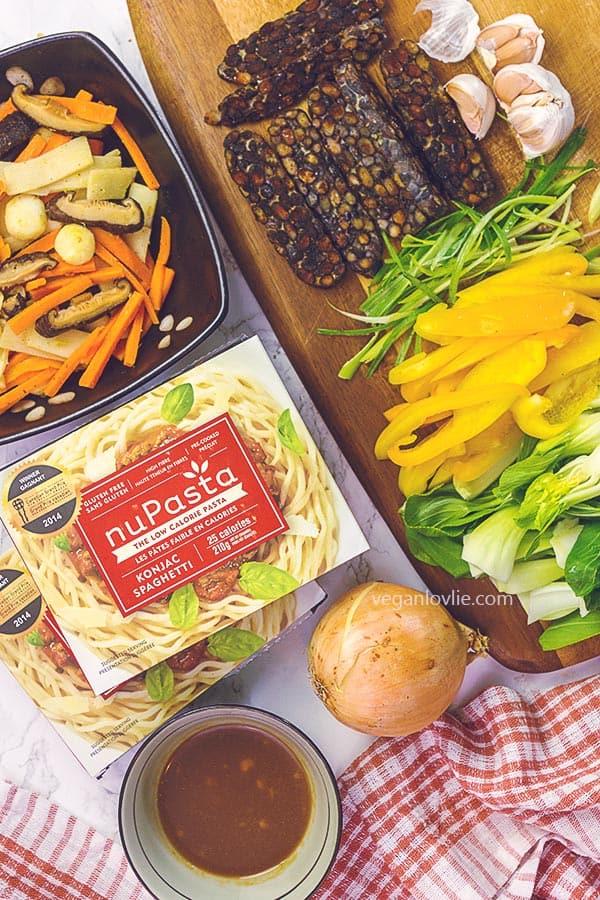 nupasta recipes - spaghetti stir-fry with tempeh in hoisin sauce