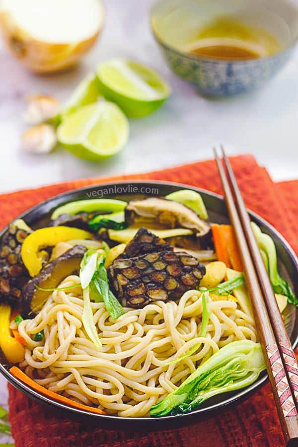 nupasta konjac spaghetti stir-fry with tempeh in hoisin sauce