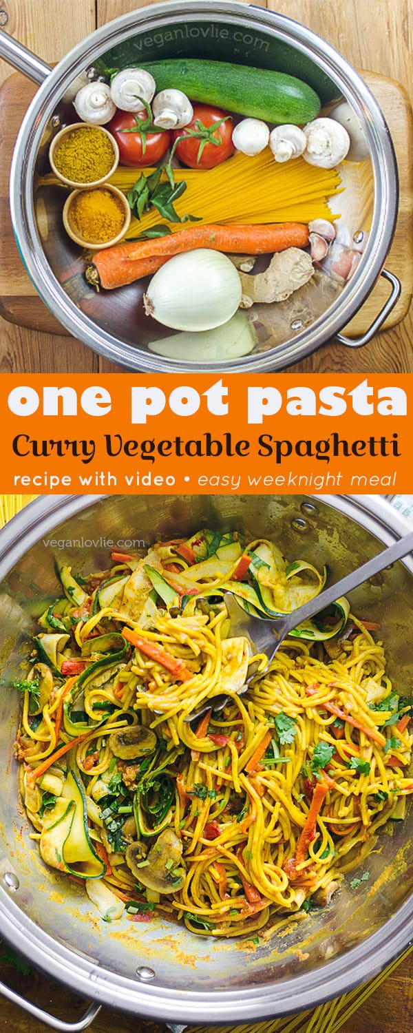one pot pasta, curry spaghetti recipe with fresh tomatoes and courgette/zucchini
