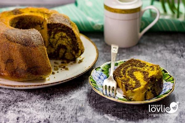 Orange and Chocolate Marble Bundt Cake, Vegan Marble Cake