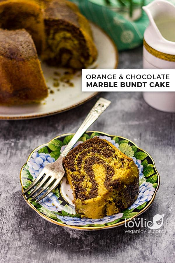 Orange and Chocolate Marble Bundt Cake, Vegan Marble Cake