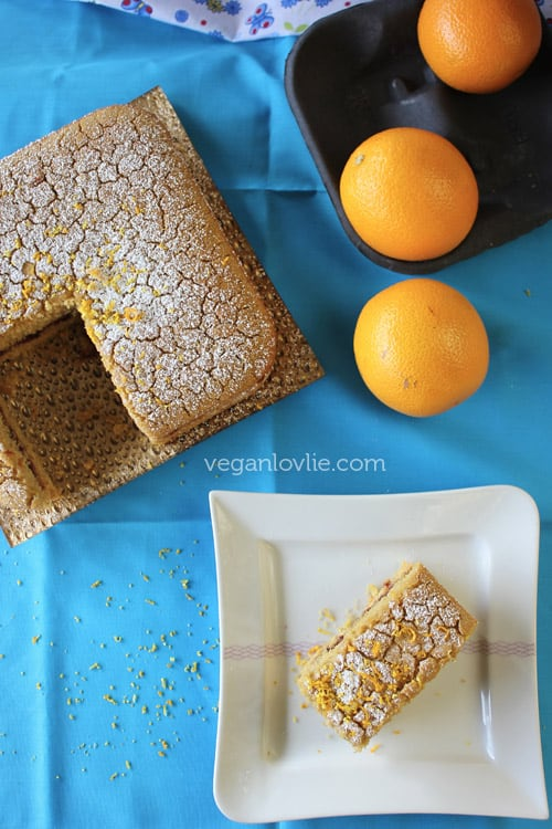 Gluten-free Vegan Orange Polenta Cake recipe, no added oil