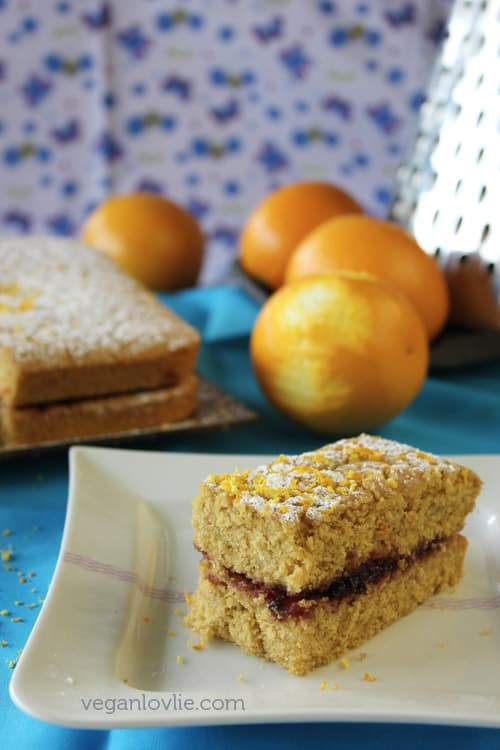 Gluten-free Vegan Orange Polenta Cake recipe, no added oil