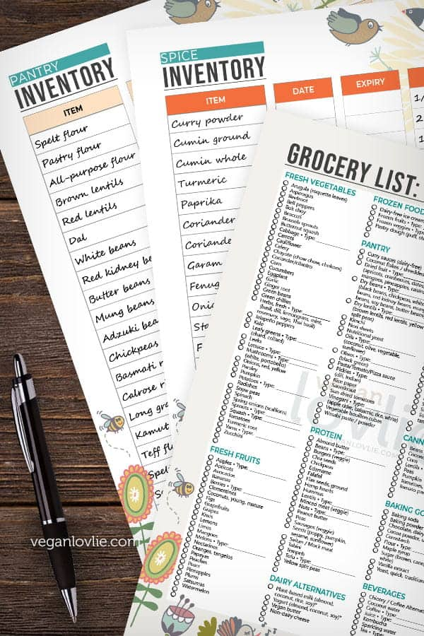 Pantry Inventory Printables - 40 Vegan Pantry Recipes