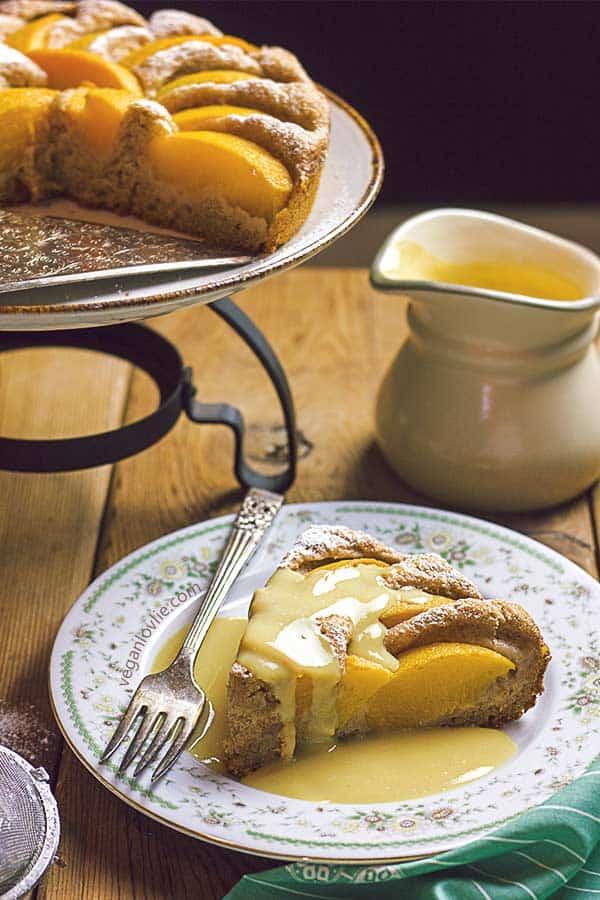 peach cake recipe, custard sauce, vegan cake recipe